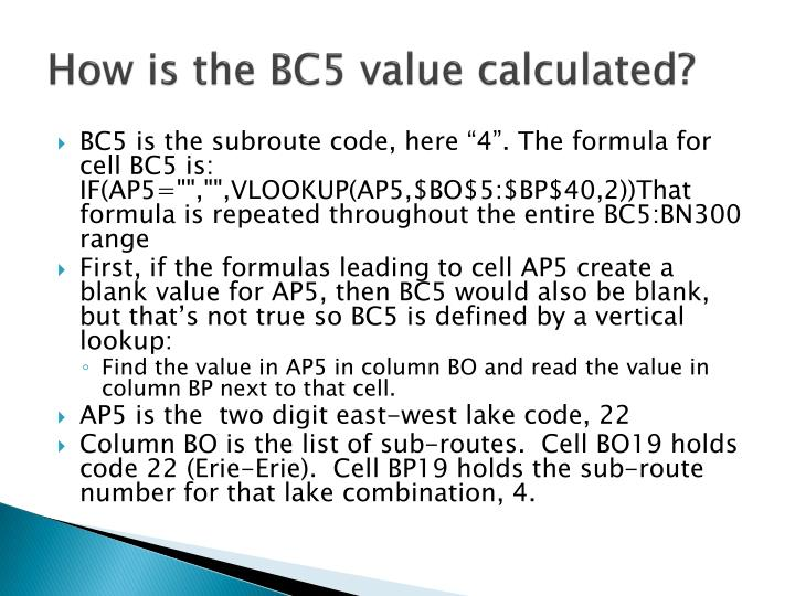 How is the BC5 value calculated?