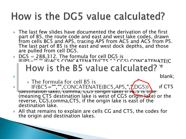 How is the DG5 value calculated?
