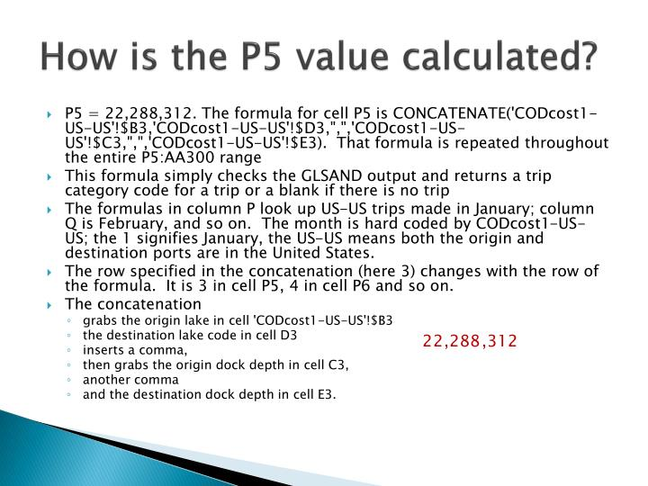 How is the P5 value calculated?