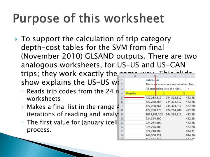 Purpose of this worksheet