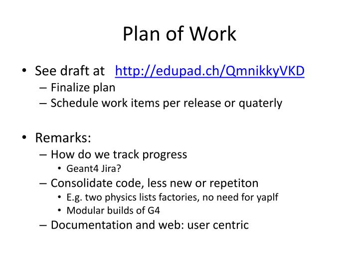 Plan of Work