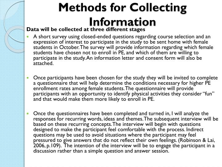 Methods for Collecting Information