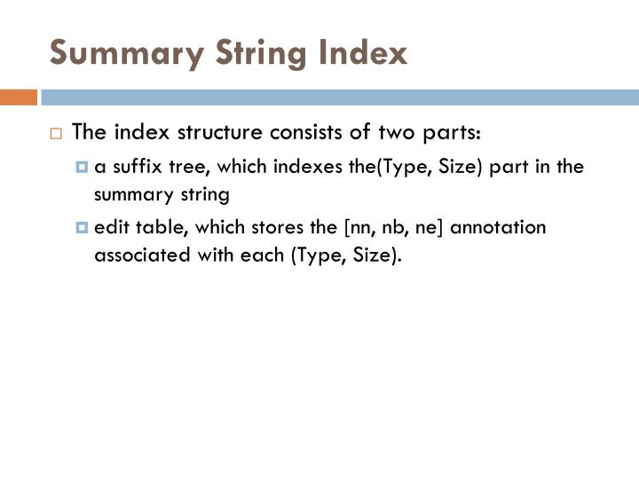 Summary String Index