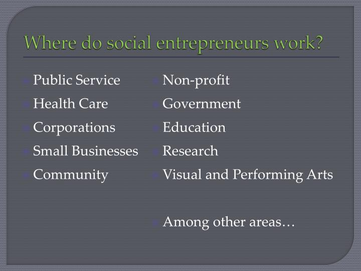 Where do social entrepreneurs work?