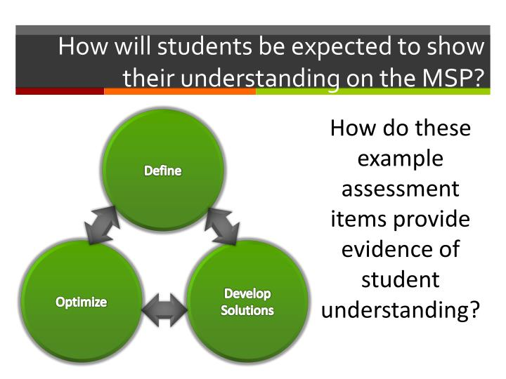 How will students be expected to show their understanding on the MSP?