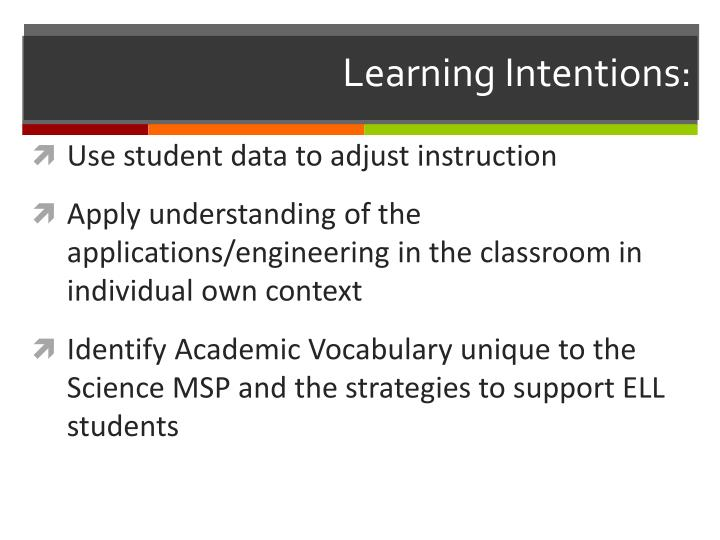 Learning Intentions: