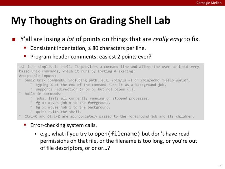My Thoughts on Grading Shell Lab