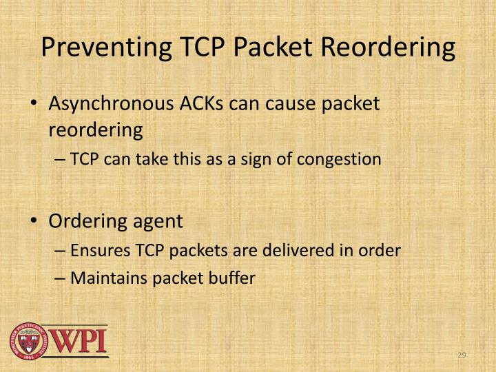 Preventing TCP Packet Reordering