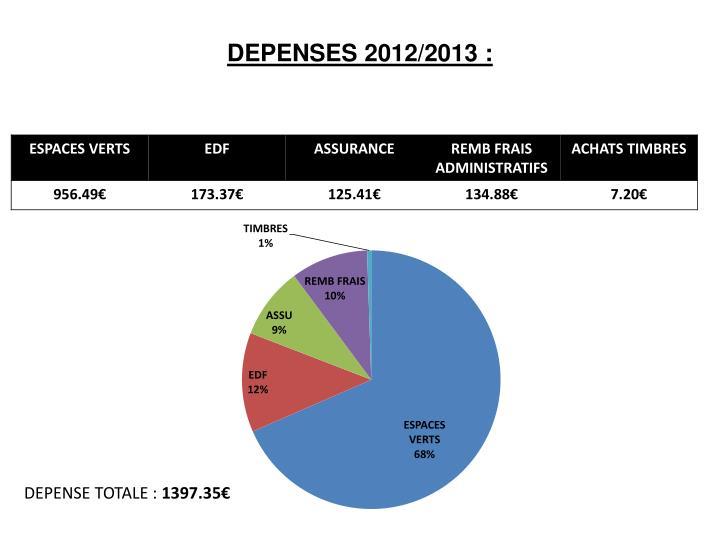 DEPENSES 2012/2013 :