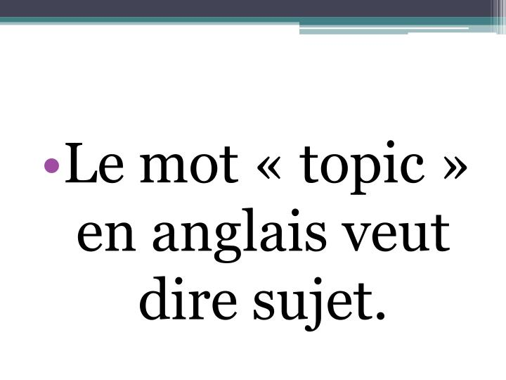 Le mot «