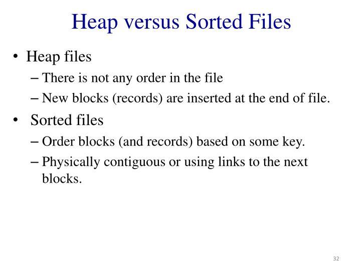 Heap versus Sorted Files