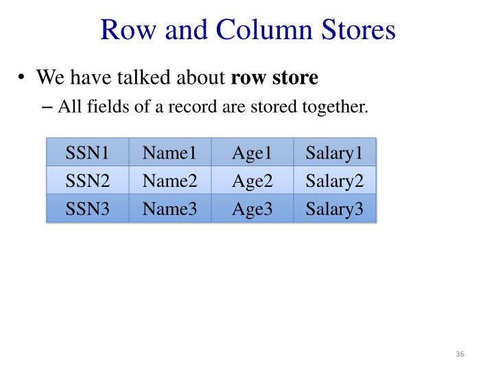 Row and Column Stores