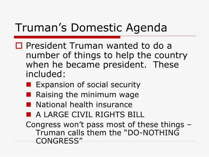 Truman's Domestic Agenda
