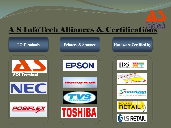 A S InfoTech Alliances & Certifications