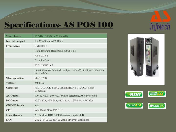 Specifications- AS POS 100