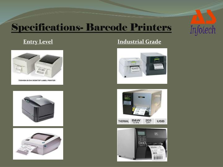 Specifications- Barcode Printers
