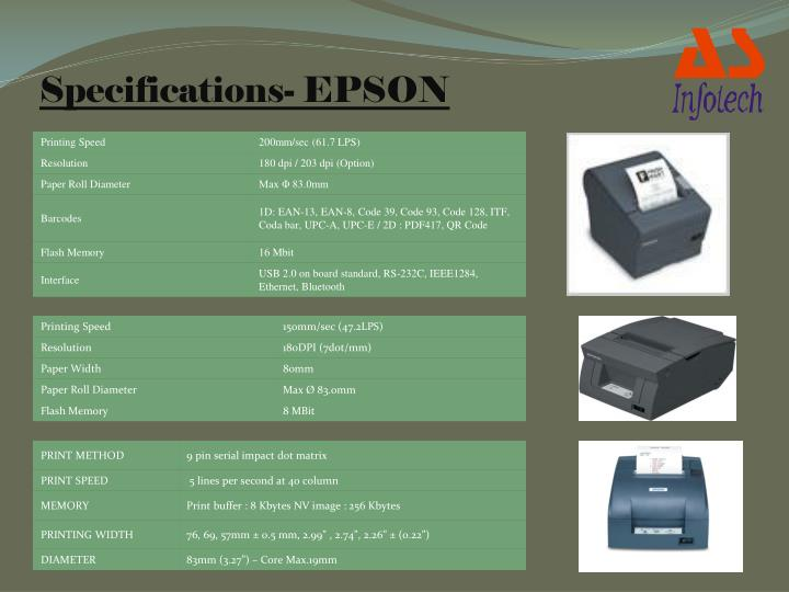 Specifications- EPSON