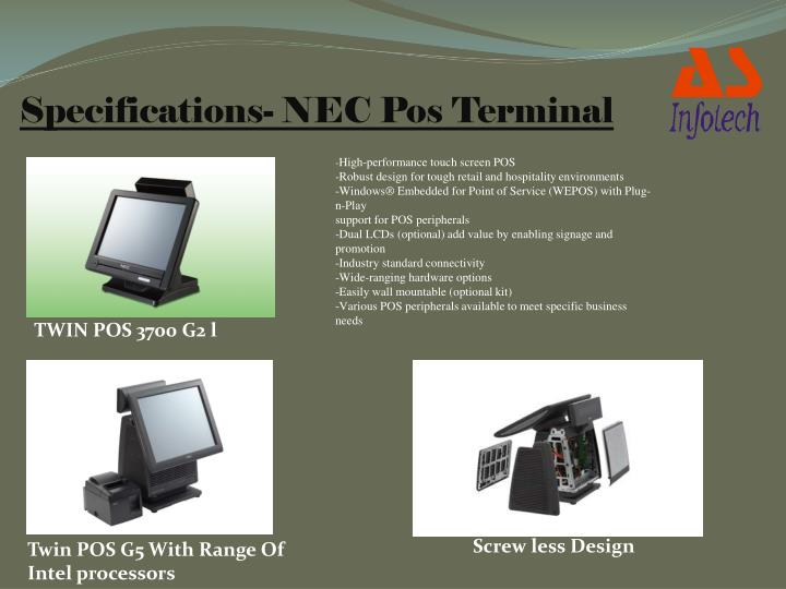 Specifications- NEC Pos Terminal