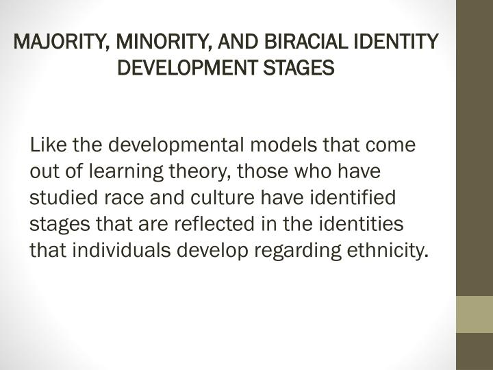 MAJORITY, MINORITY, AND BIRACIAL IDENTITY DEVELOPMENT STAGES