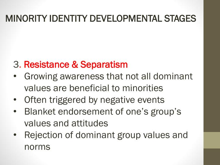 MINORITY IDENTITY DEVELOPMENTAL STAGES