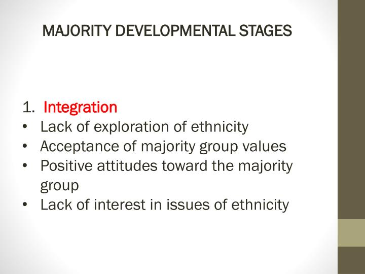 MAJORITY DEVELOPMENTAL STAGES