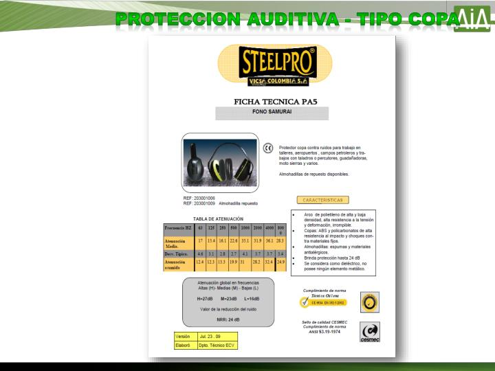 PROTECCION AUDITIVA - TIPO COPA