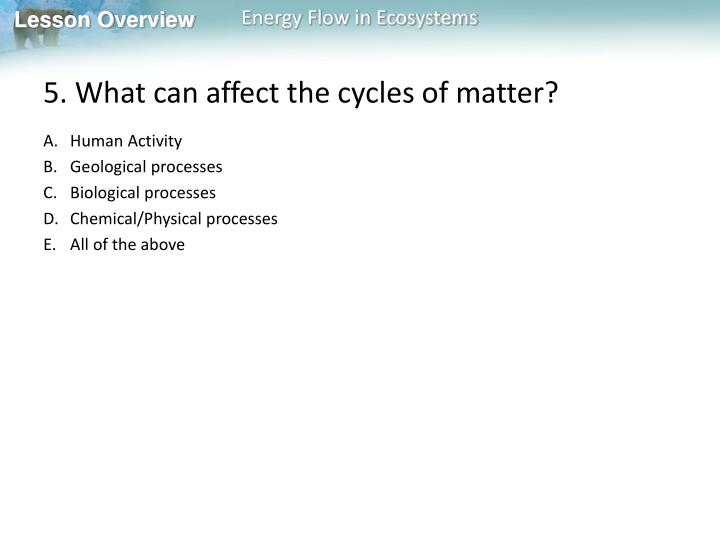5. What can affect the cycles of matter?