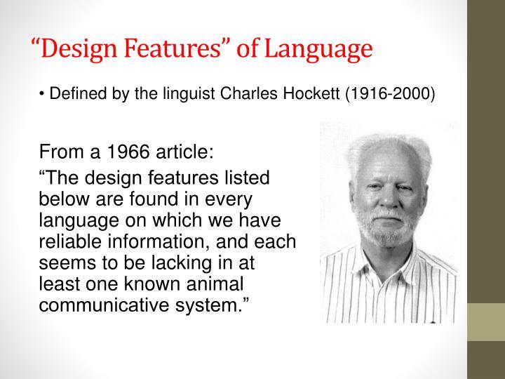 """""""Design Features"""" of Language"""