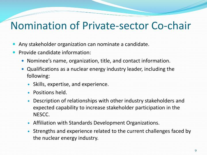 Nomination of Private-sector Co-chair