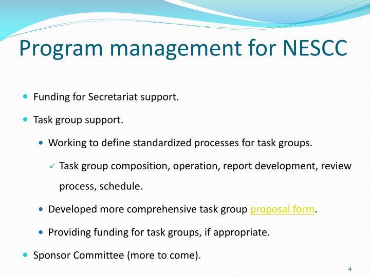 Program management for NESCC