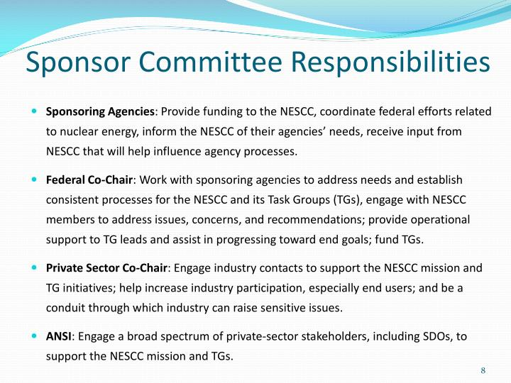Sponsor Committee Responsibilities
