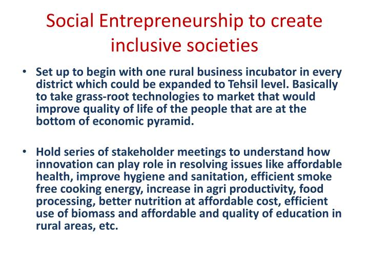 Social Entrepreneurship to create inclusive societies