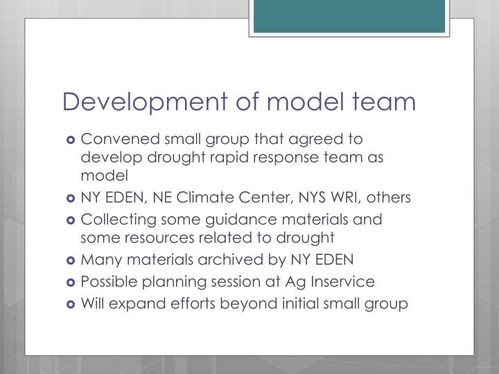 Development of model team