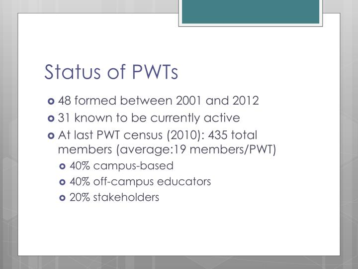 Status of PWTs