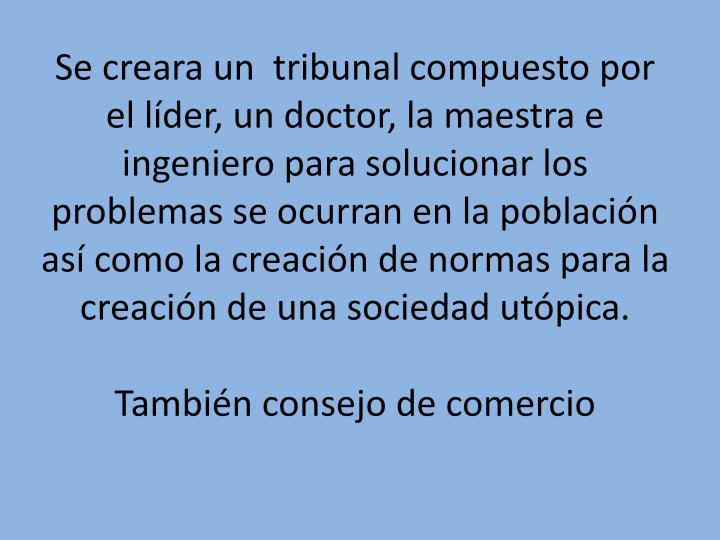 Se creara un  tribunal compuesto por el líder, un doctor, la maestra e ingeniero para solucionar los problemas se ocurran en la población