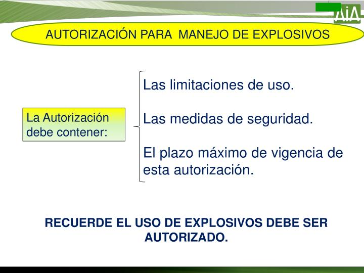 AUTORIZACIÓN PARA  MANEJO DE EXPLOSIVOS