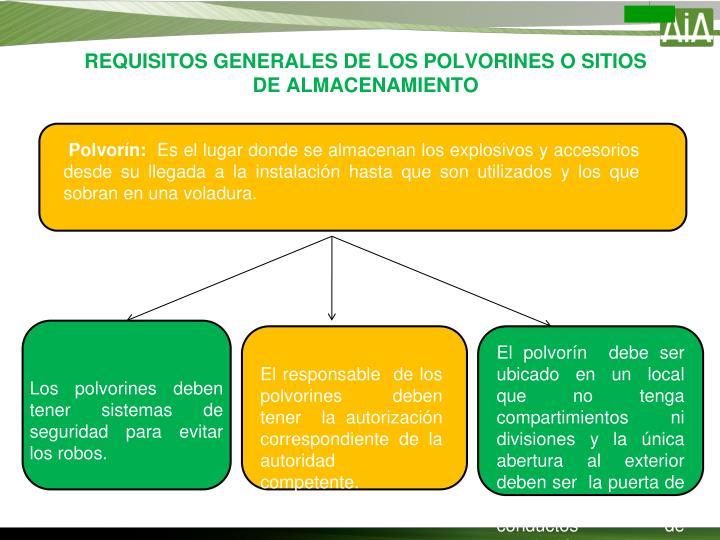 REQUISITOS GENERALES DE LOS POLVORINES O SITIOS DE ALMACENAMIENTO