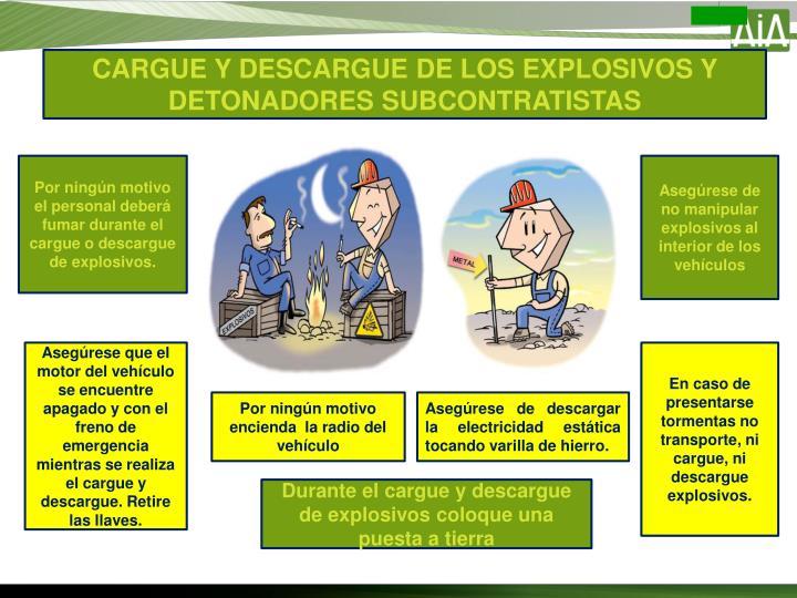 CARGUE Y DESCARGUE DE LOS EXPLOSIVOS Y DETONADORES SUBCONTRATISTAS