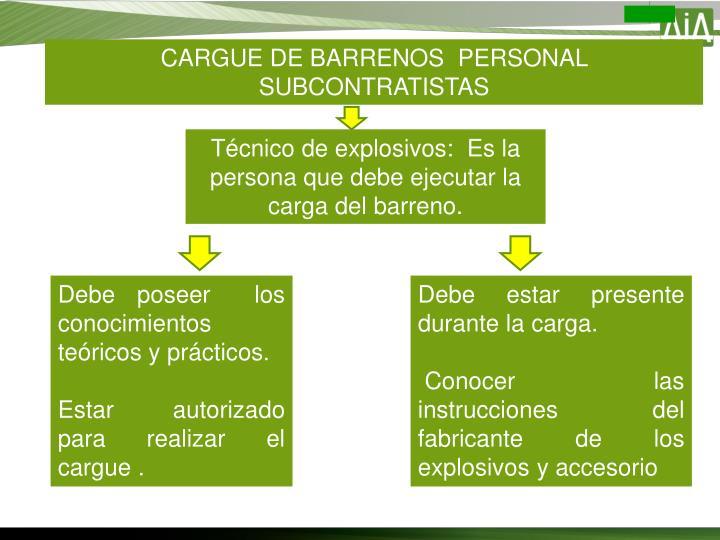 CARGUE DE BARRENOS  PERSONAL SUBCONTRATISTAS