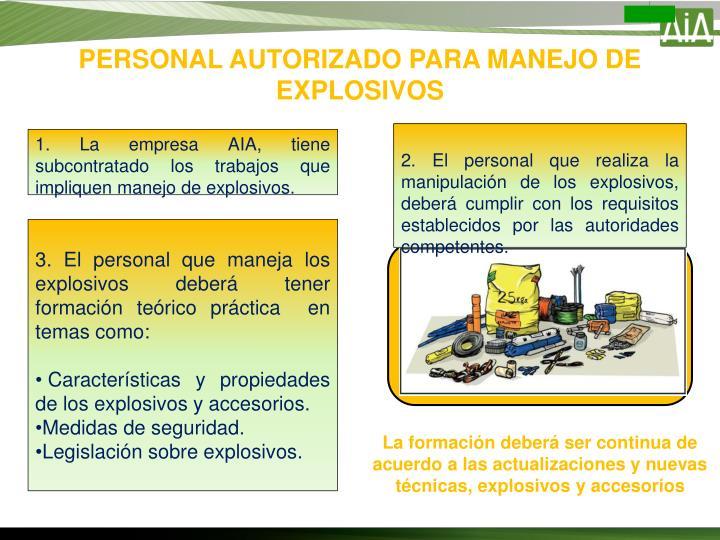 PERSONAL AUTORIZADO PARA MANEJO DE EXPLOSIVOS