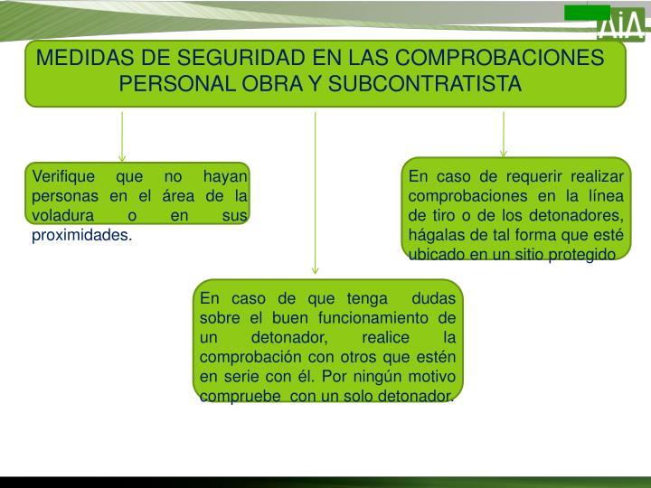 MEDIDAS DE SEGURIDAD EN LAS COMPROBACIONES PERSONAL OBRA Y SUBCONTRATISTA