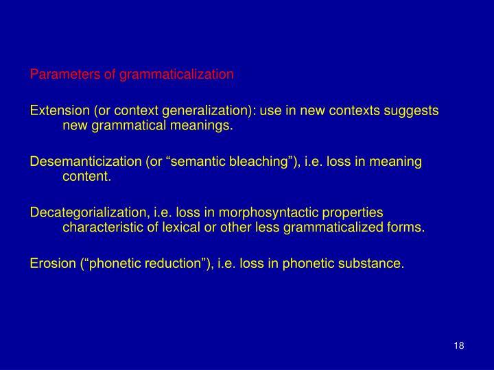 Parameters of grammaticalization