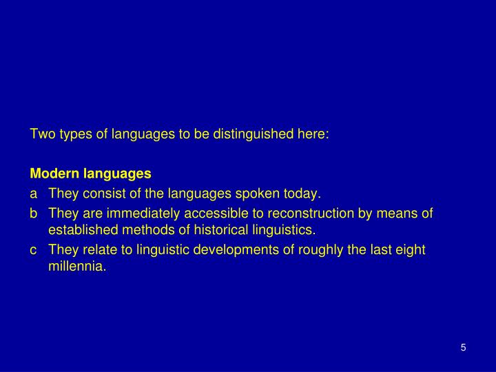 Two types of languages to be distinguished here: