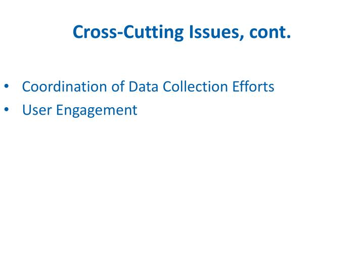 Cross-Cutting Issues, cont.