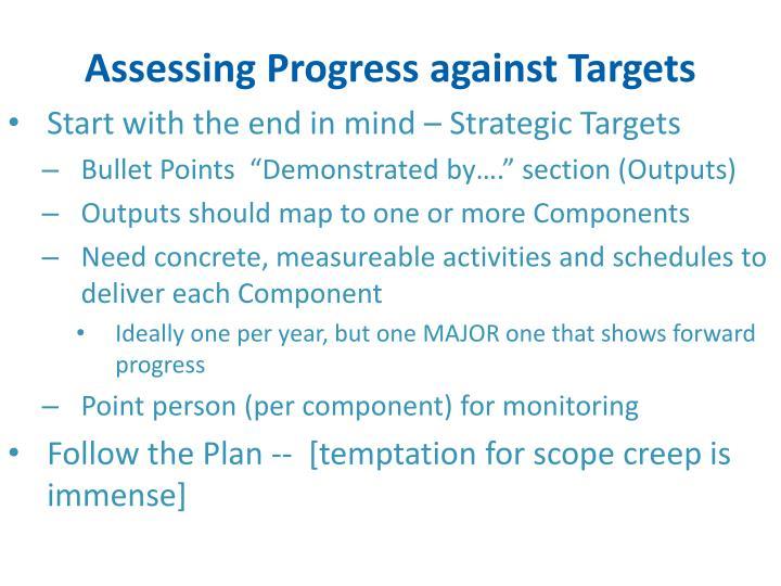 Assessing Progress against Targets