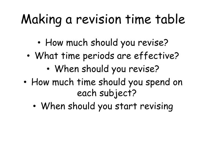 Making a revision time table