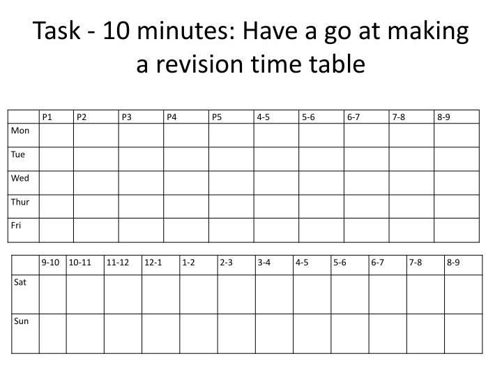 Task - 10 minutes: Have a go at making a revision time table