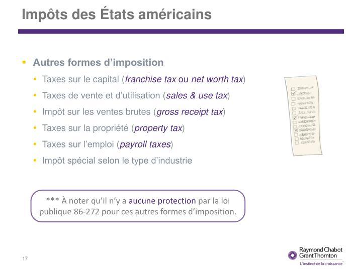 Impôts des États américains
