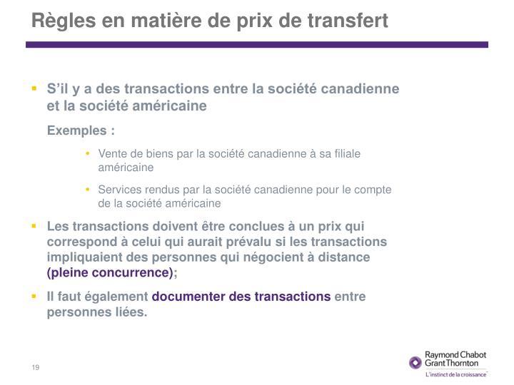Règles en matière de prix de transfert