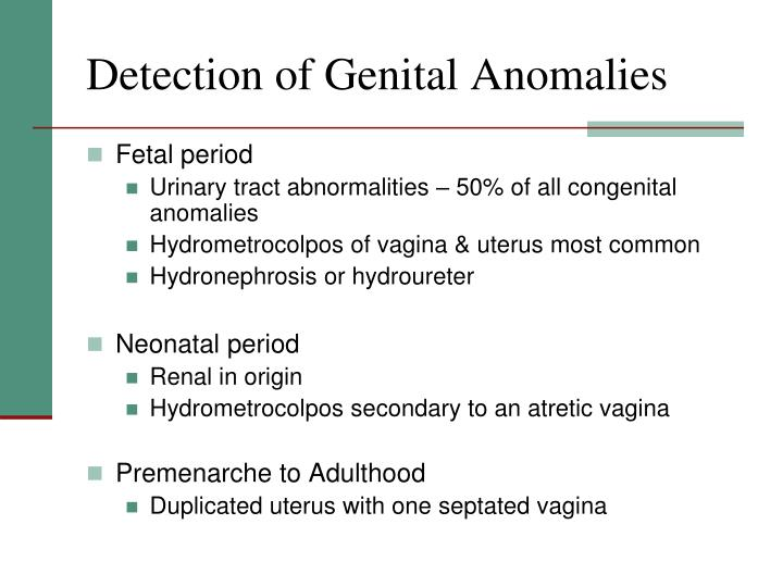 Detection of genital anomalies